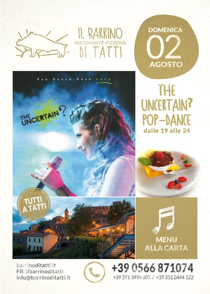 2 agosto 2020 - the uncertain pop-dance - Il Barrino di Tatti