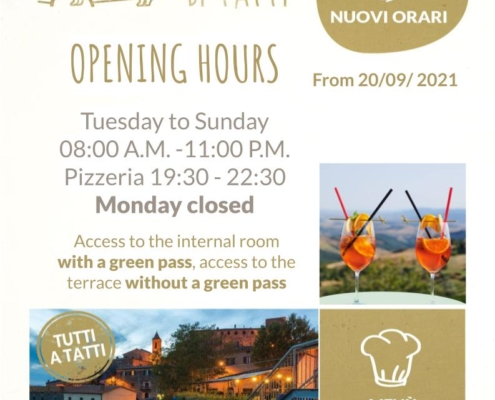 OPENING HOURS from 20/09/2021
